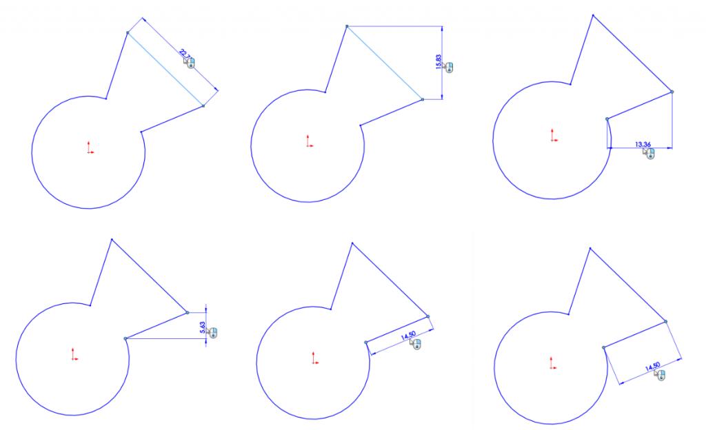 ขนาดของ Sketch ในโปรแกรม SolidWorks