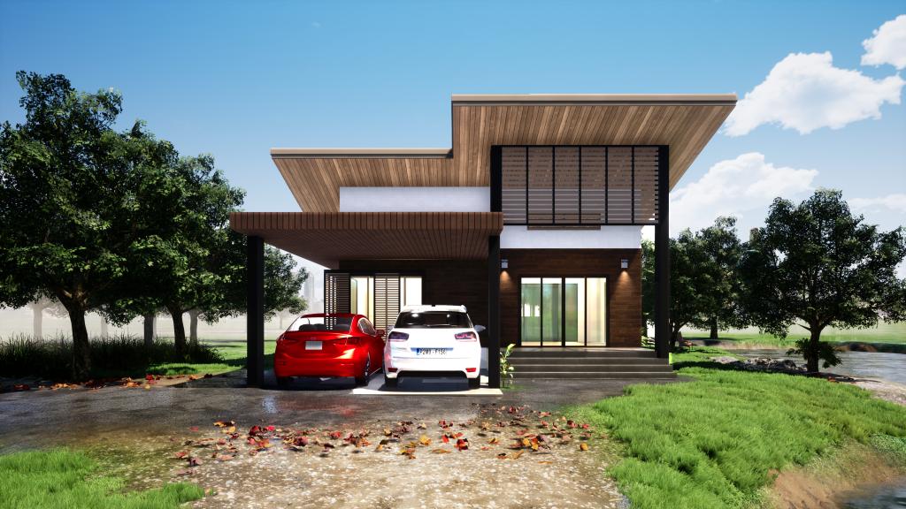 บ้านพักอาศัย 1 ชั้น (ArchiCAD-APPBIM-T001) ขนาด 125 ตารางเมตร ArchiCADBIM