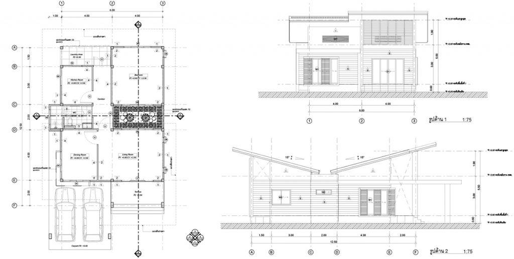 บ้านพักอาศัย 1 ชั้น (ArchiCAD-APPBIM-T001) ขนาด 125 ตารางเมตร