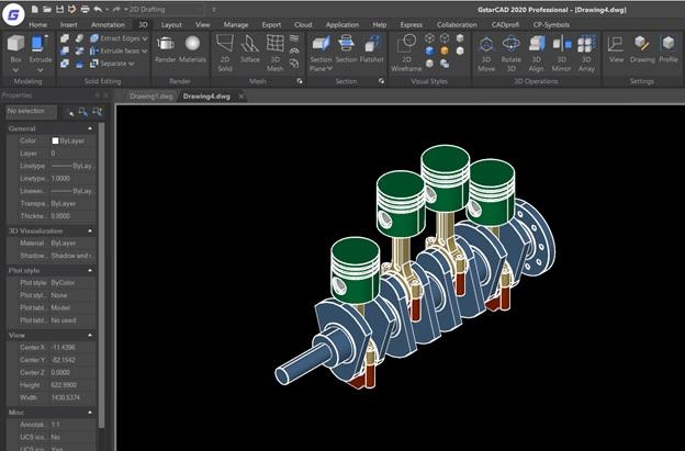 GstarCAD รูปแบบการแสดงผลของชิ้นงาน 3D