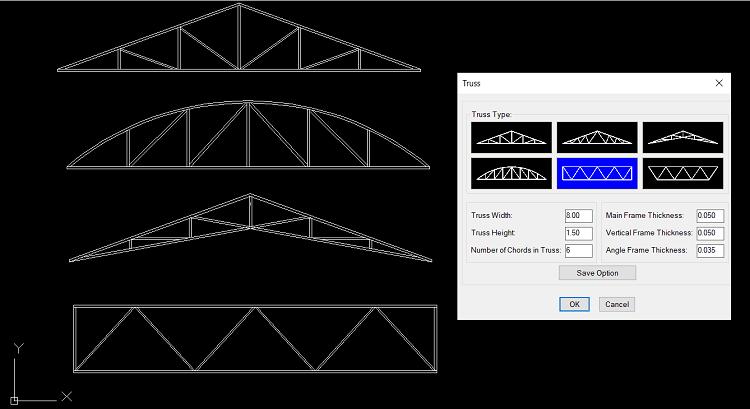 Beams & Truss เมนูใส่รูปตัดอาคารและโครง Truss มีโครง Truss