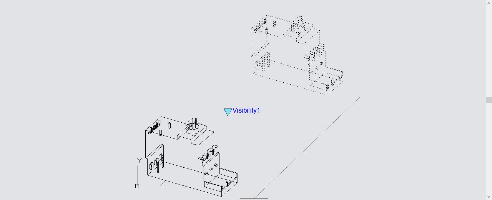 เลือกทุก View แล้วย้ายวัตถุมาตรงตำแหน่งเดียวกัน เพื่อให้คำสั่ง Visibility