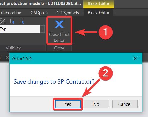 เมื่อย้ายวัตถุเสร็จ ให้คลิกคำสั่ง Close Block Editor (1) และคลิก Yes (2)