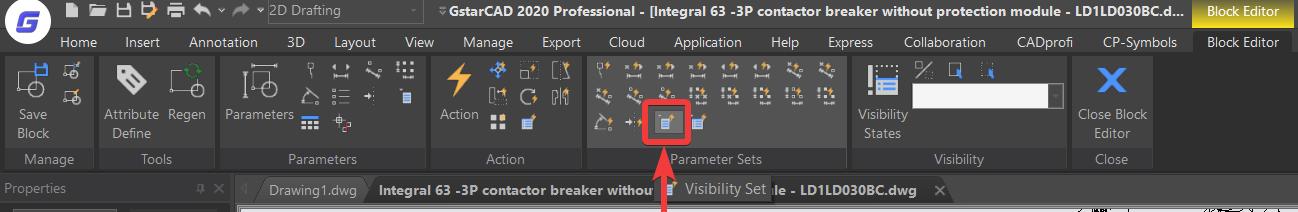 เลือกคำสั่ง Visibility Set ในหมวด Parameter Sets
